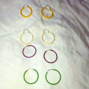 4 pair Vintage small hoop pierced earrings green